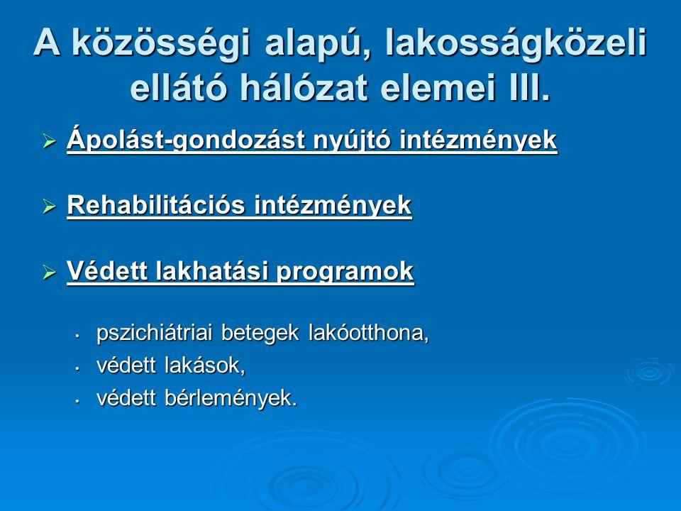 A közösségi alapú, lakosságközeli ellátó hálózat elemei III.