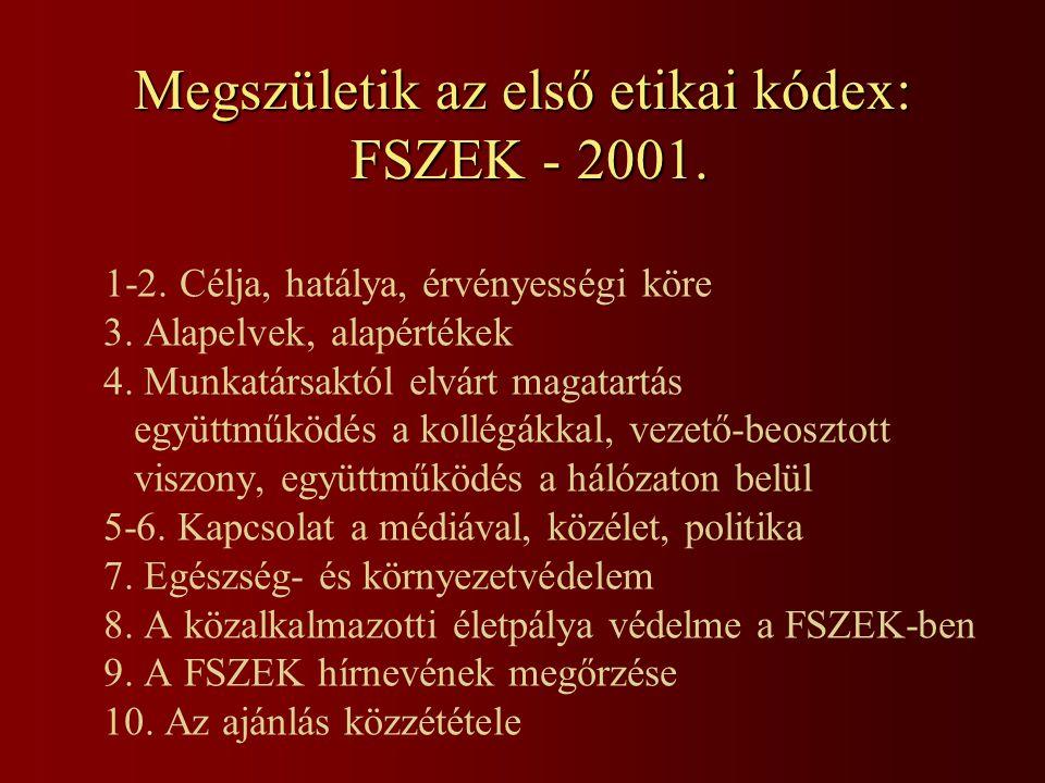 Megszületik az első etikai kódex: FSZEK - 2001.