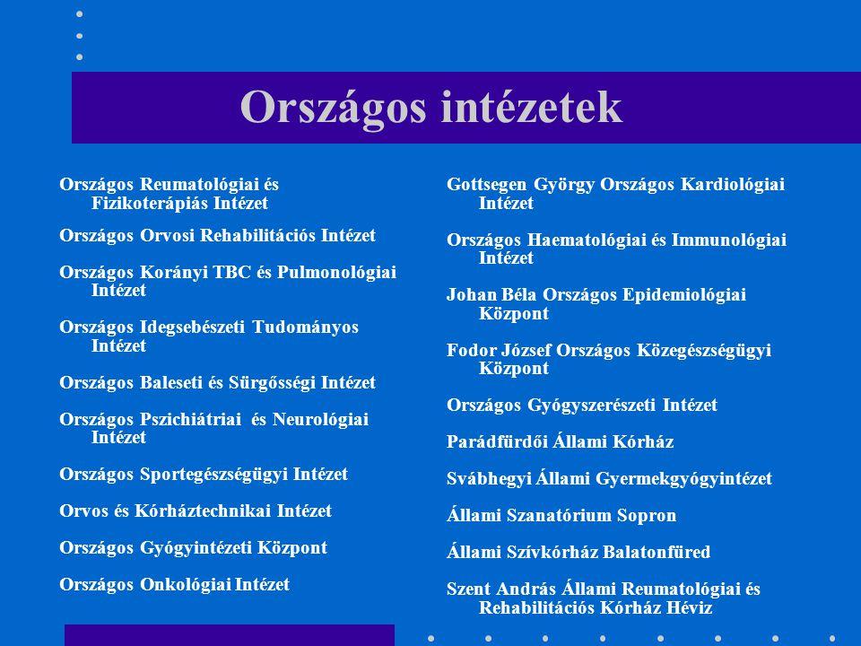 Országos intézetek Országos Reumatológiai és Fizikoterápiás Intézet