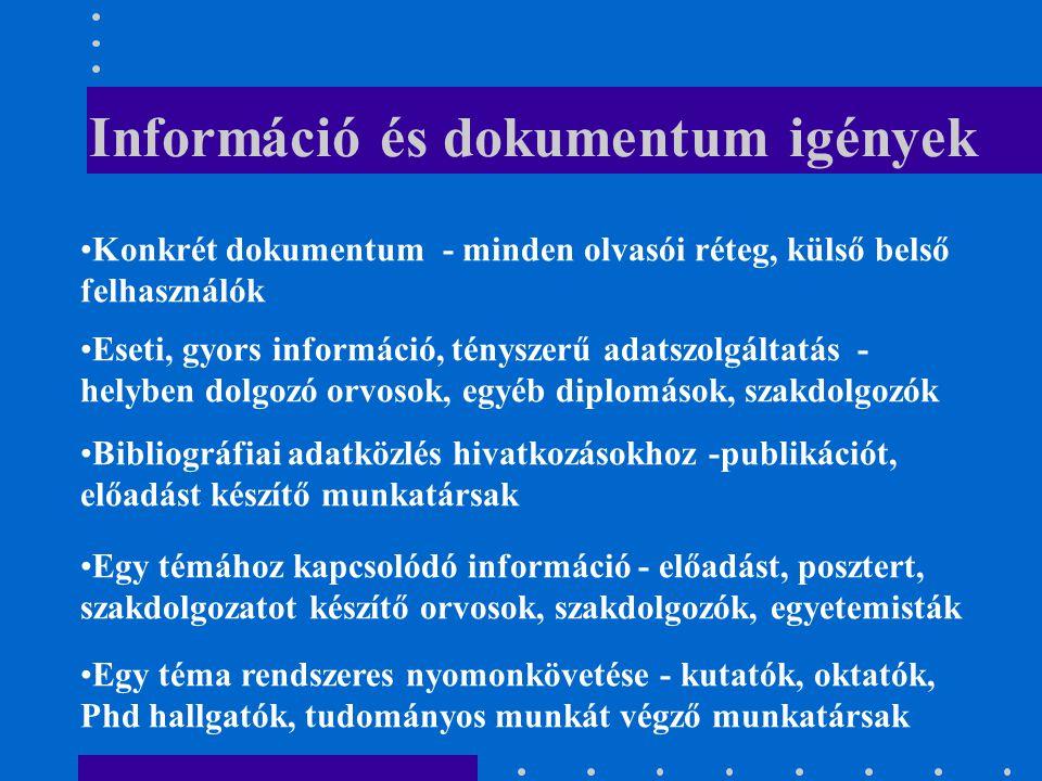 Információ és dokumentum igények