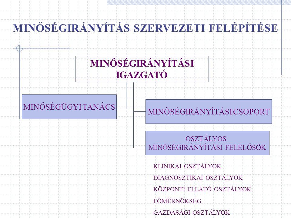 MINŐSÉGIRÁNYÍTÁS SZERVEZETI FELÉPÍTÉSE MINŐSÉGIRÁNYÍTÁSI IGAZGATÓ