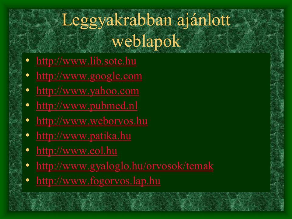 Leggyakrabban ajánlott weblapok