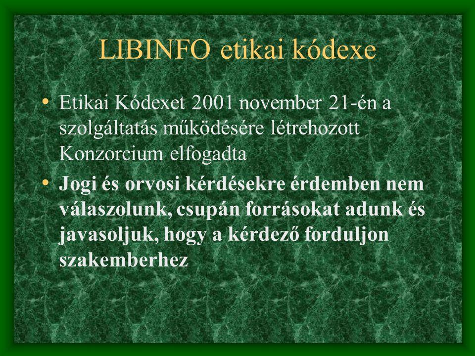 LIBINFO etikai kódexe Etikai Kódexet 2001 november 21-én a szolgáltatás működésére létrehozott Konzorcium elfogadta.