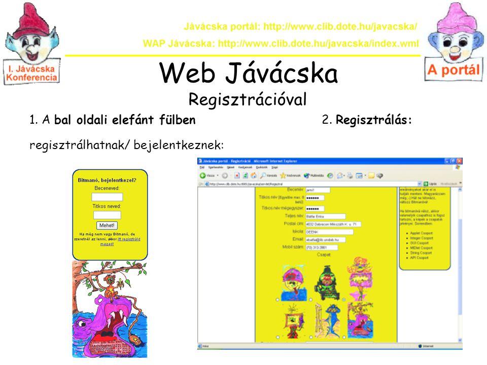 Web Jávácska Regisztrációval