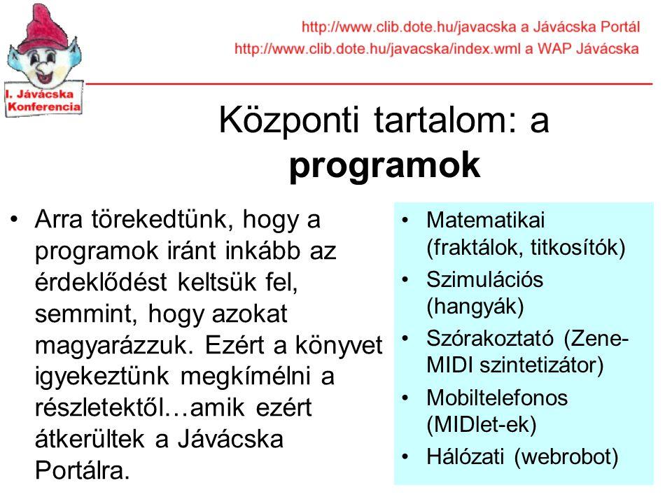 Központi tartalom: a programok