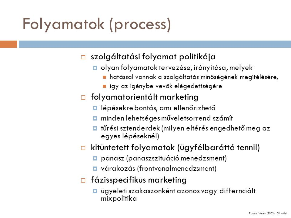 Folyamatok (process) szolgáltatási folyamat politikája