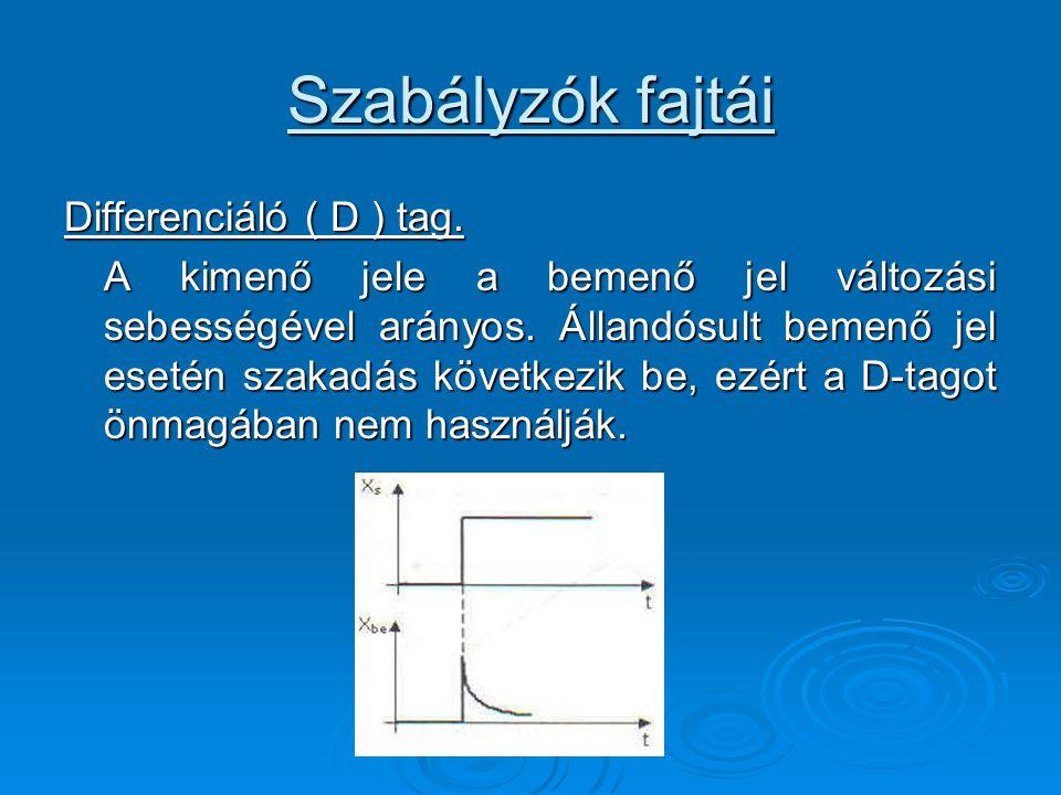 Szabályzók fajtái Differenciáló ( D ) tag.