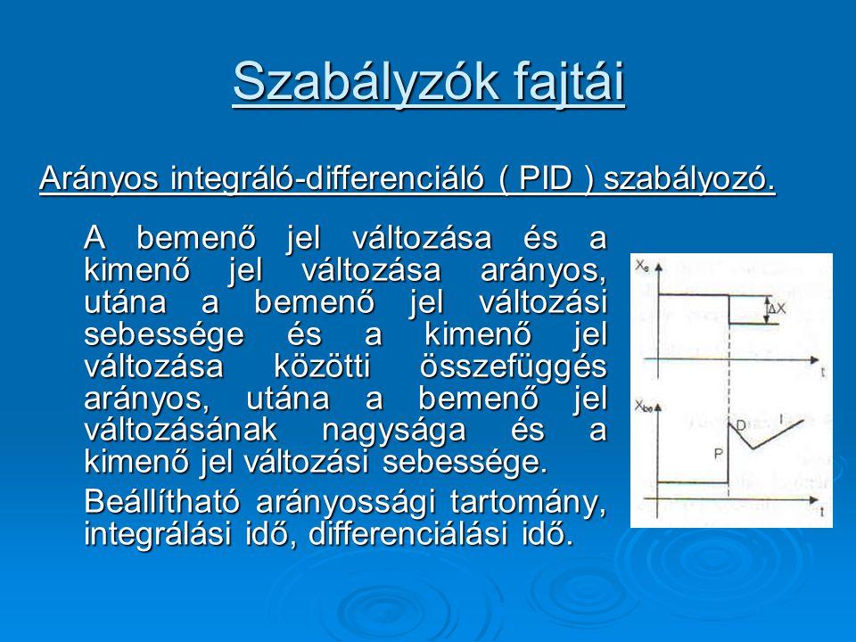 Szabályzók fajtái Arányos integráló-differenciáló ( PID ) szabályozó.