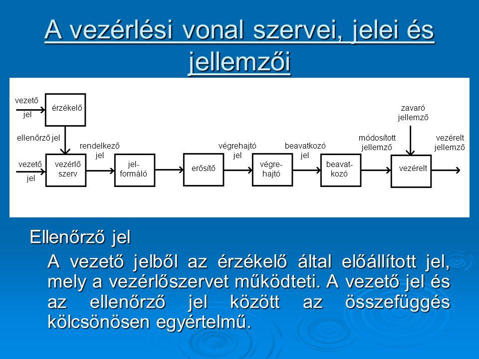 A vezérlési vonal szervei, jelei és jellemzői