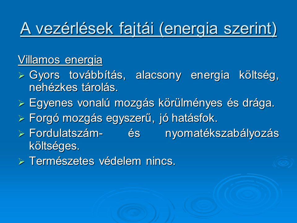 A vezérlések fajtái (energia szerint)