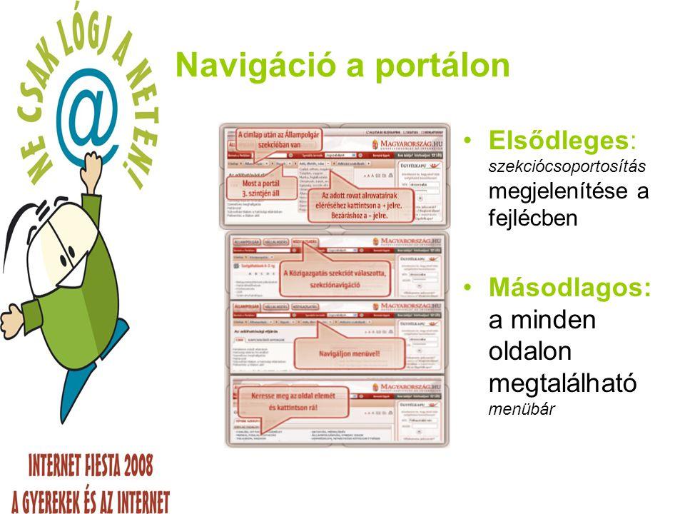 Navigáció a portálon Elsődleges: szekciócsoportosítás megjelenítése a fejlécben.