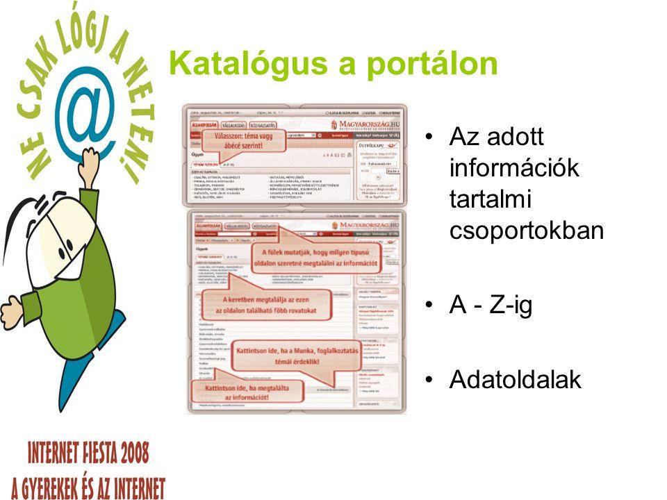 Katalógus a portálon Az adott információk tartalmi csoportokban