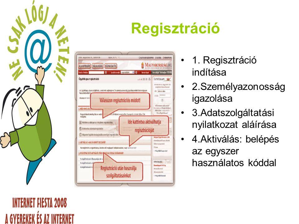 Regisztráció 1. Regisztráció indítása 2.Személyazonosság igazolása
