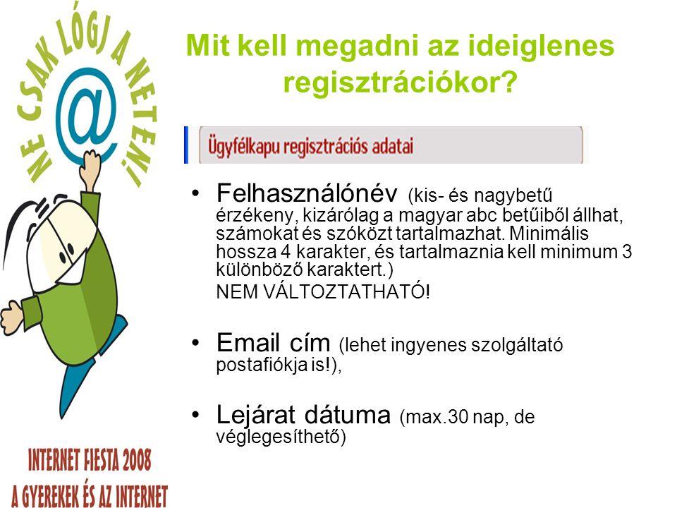 Mit kell megadni az ideiglenes regisztrációkor