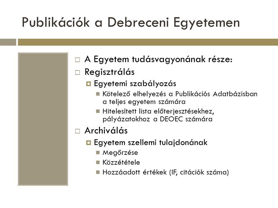 Publikációk a Debreceni Egyetemen