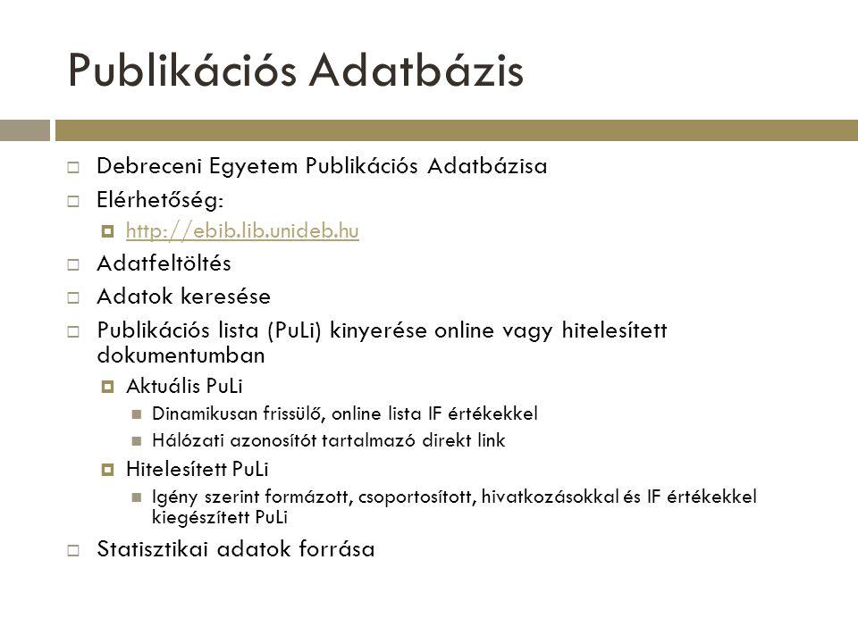 Publikációs Adatbázis