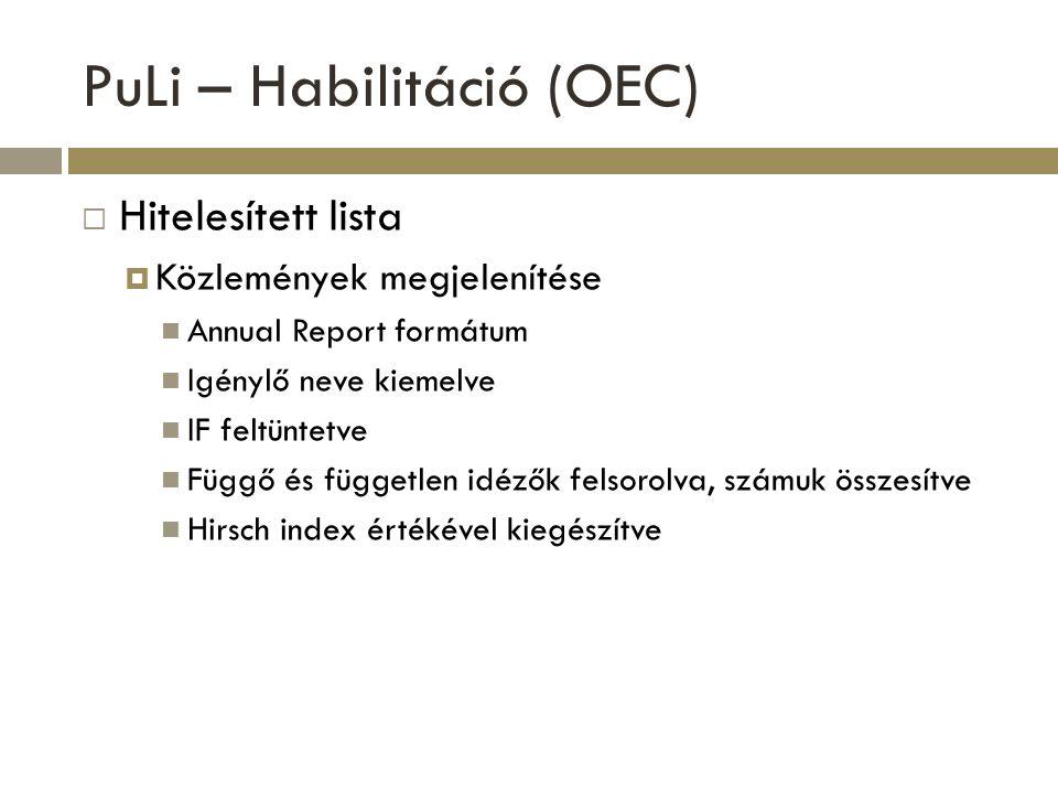 PuLi – Habilitáció (OEC)