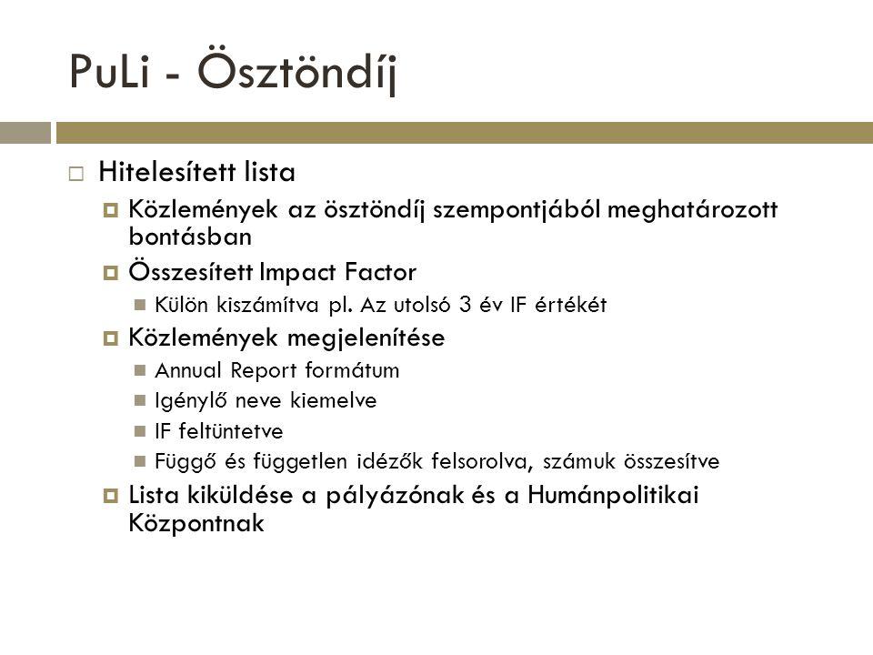 PuLi - Ösztöndíj Hitelesített lista