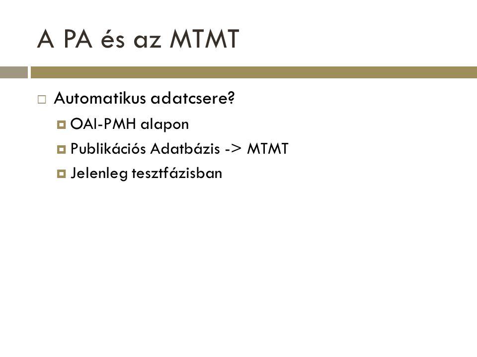 A PA és az MTMT Automatikus adatcsere OAI-PMH alapon