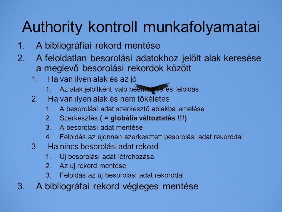 Authority kontroll munkafolyamatai