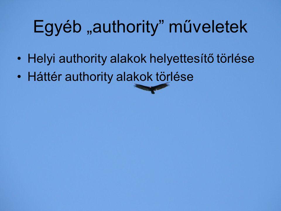 """Egyéb """"authority műveletek"""