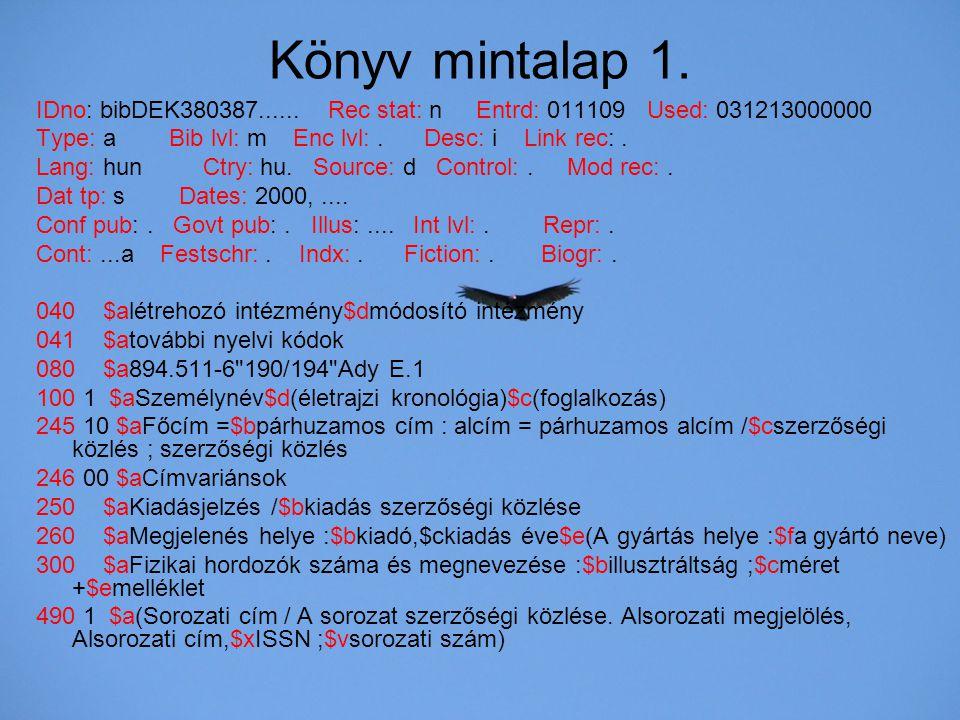 Könyv mintalap 1. IDno: bibDEK380387...... Rec stat: n Entrd: 011109 Used: 031213000000.