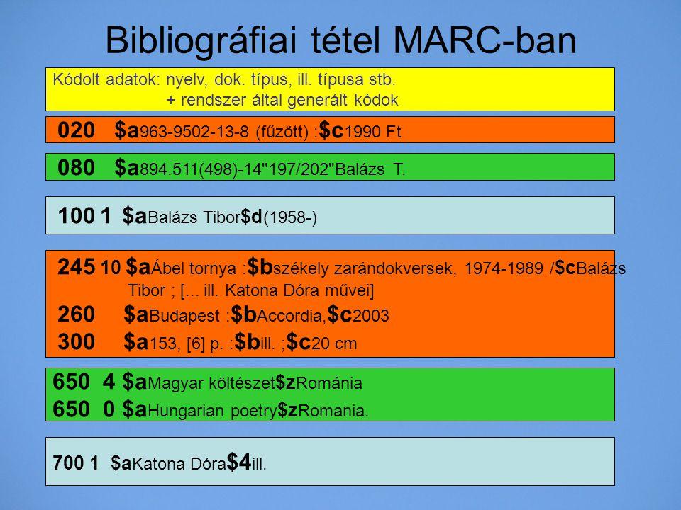 Bibliográfiai tétel MARC-ban