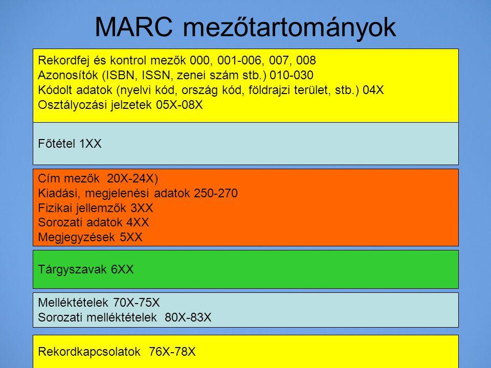 MARC mezőtartományok Rekordfej és kontrol mezők 000, 001-006, 007, 008