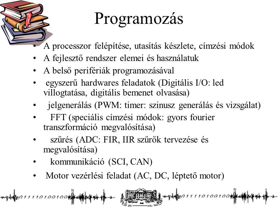 Programozás A processzor felépítése, utasítás készlete, címzési módok