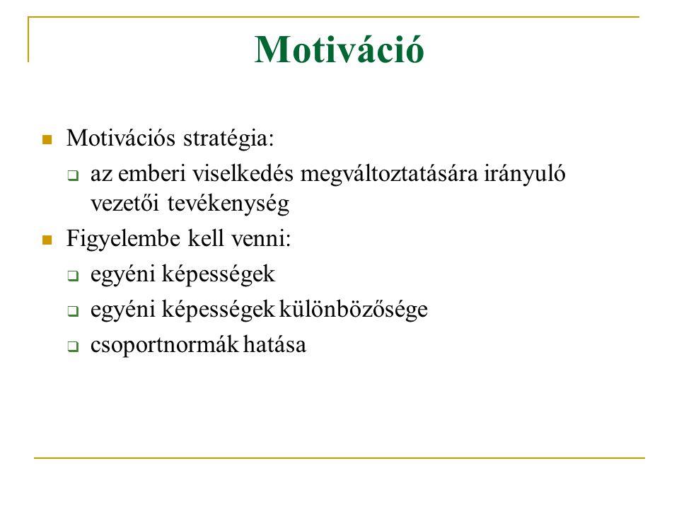 Motiváció Motivációs stratégia: