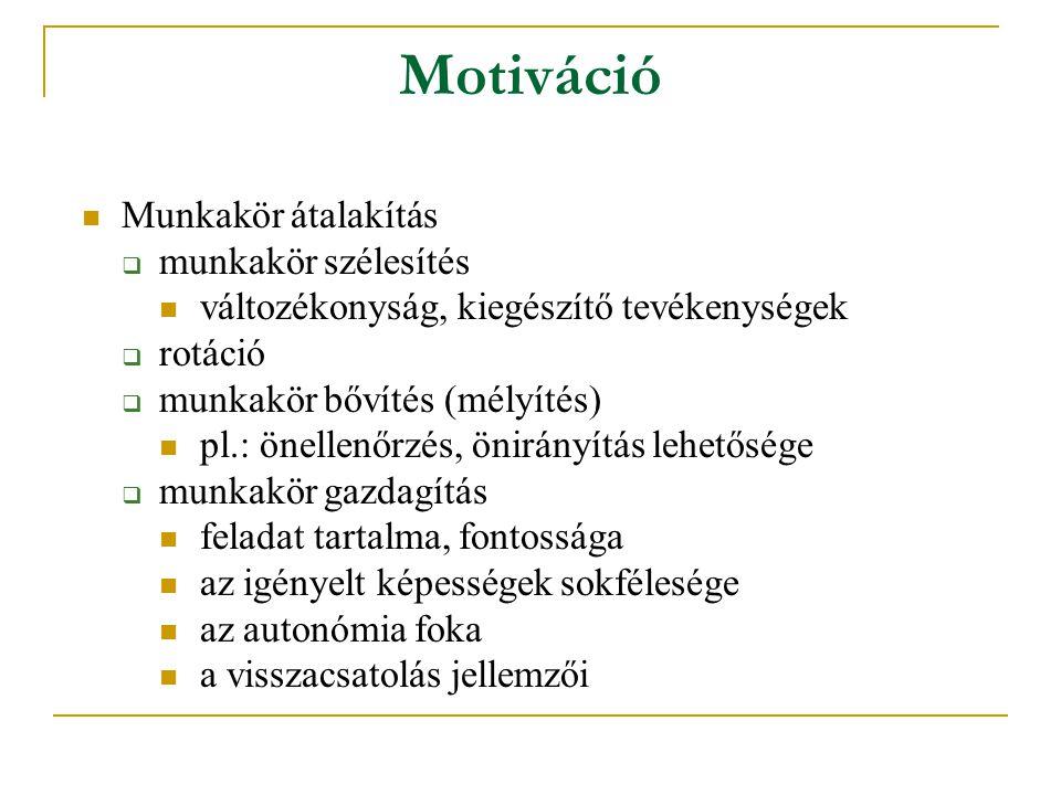 Motiváció Munkakör átalakítás munkakör szélesítés