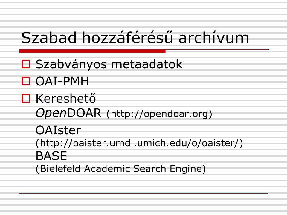Szabad hozzáférésű archívum