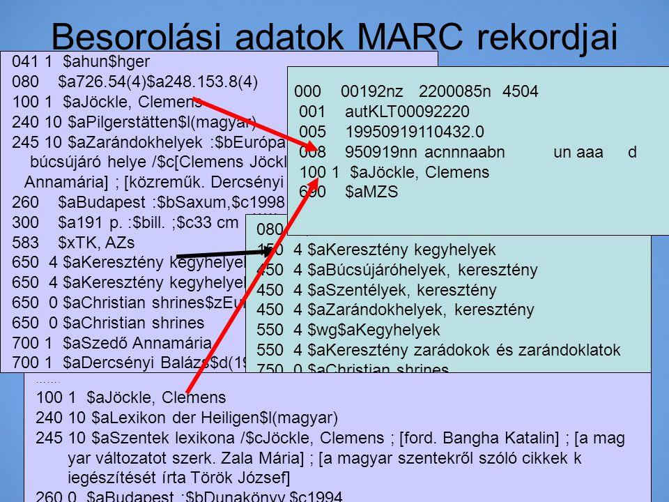 Besorolási adatok MARC rekordjai