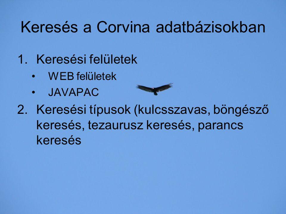 Keresés a Corvina adatbázisokban