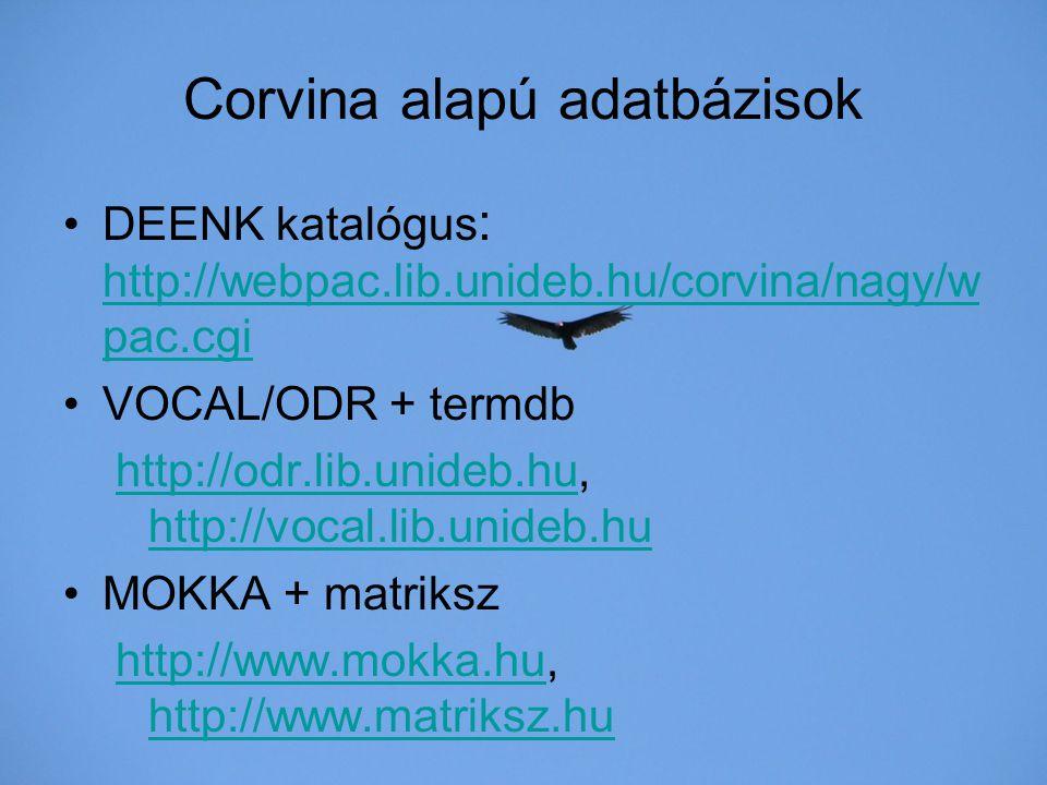 Corvina alapú adatbázisok