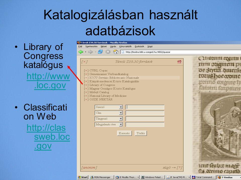 Katalogizálásban használt adatbázisok