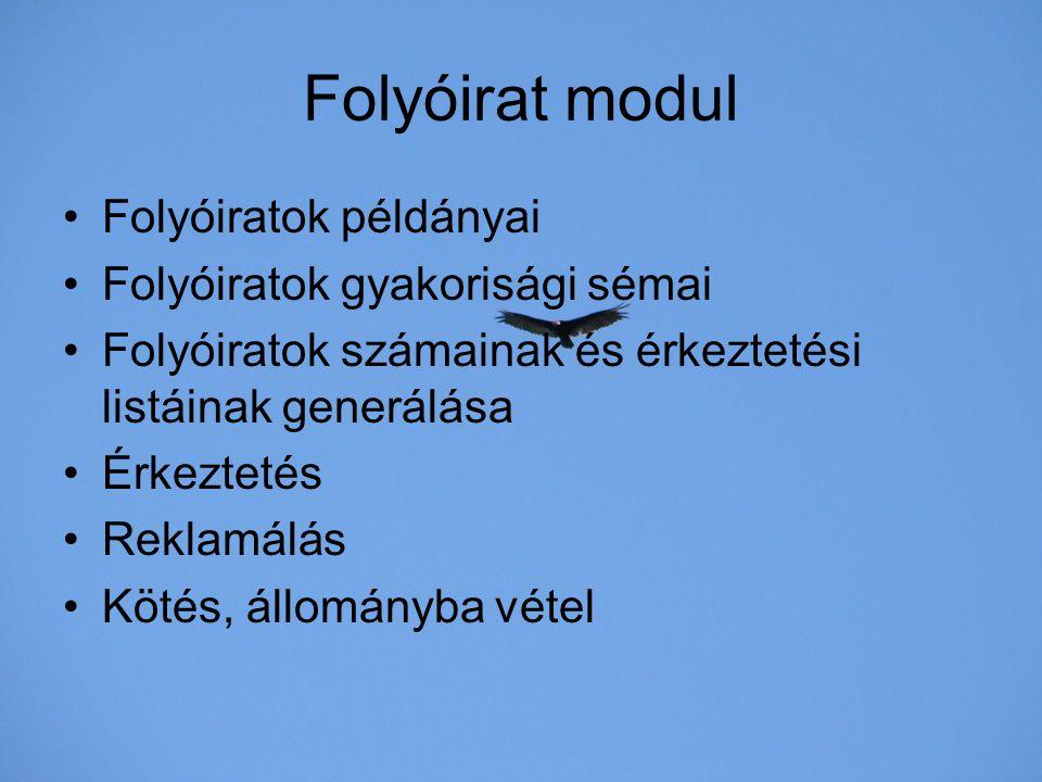 Folyóirat modul Folyóiratok példányai Folyóiratok gyakorisági sémai
