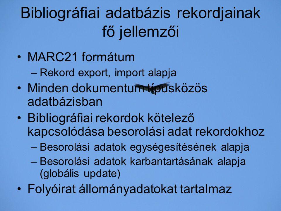 Bibliográfiai adatbázis rekordjainak fő jellemzői
