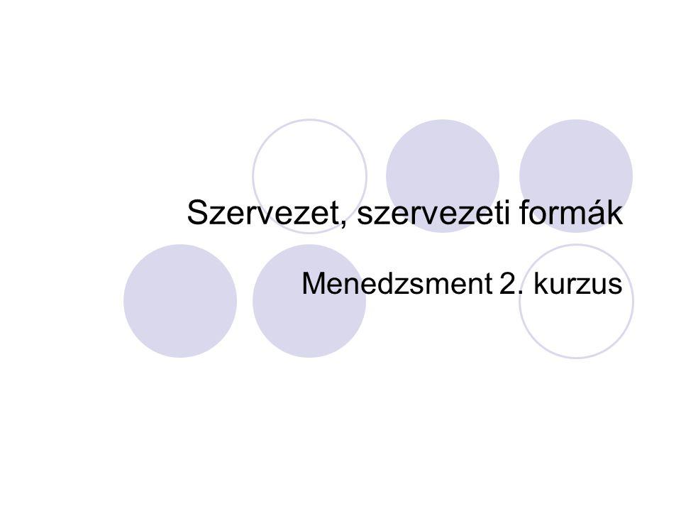 Szervezet, szervezeti formák
