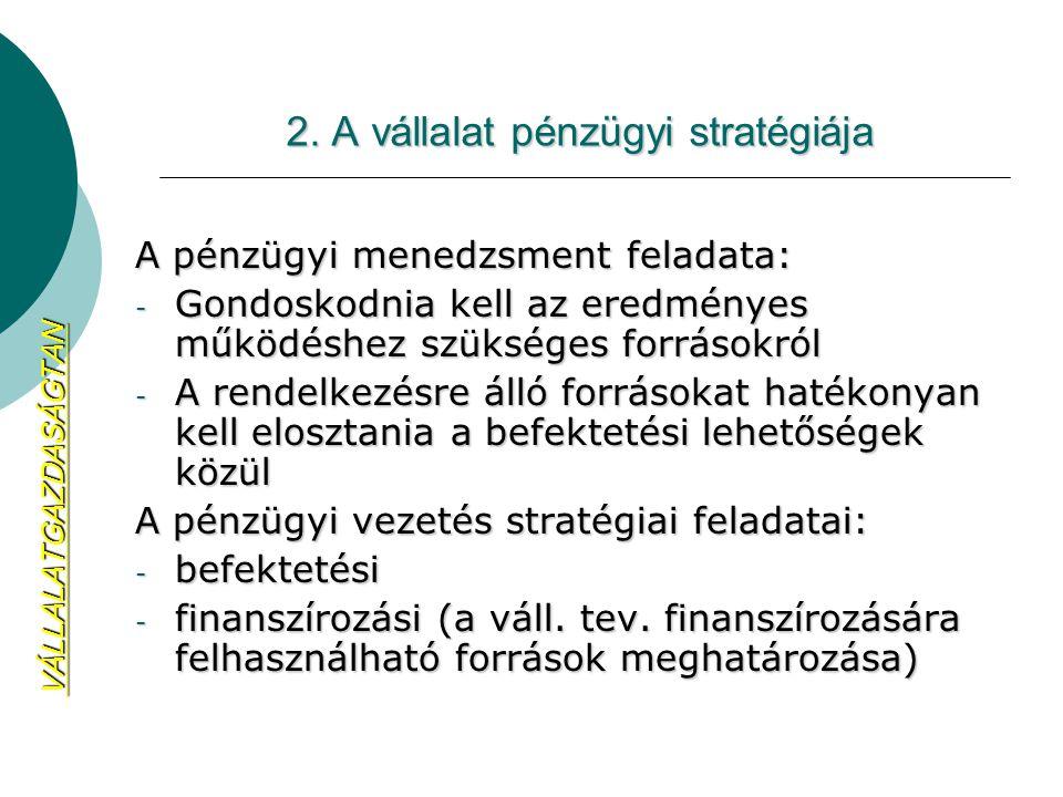 2. A vállalat pénzügyi stratégiája