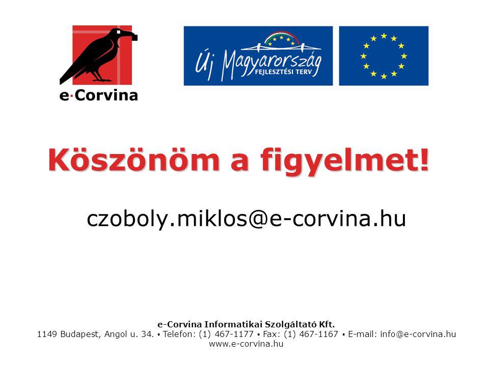 Köszönöm a figyelmet! czoboly.miklos@e-corvina.hu