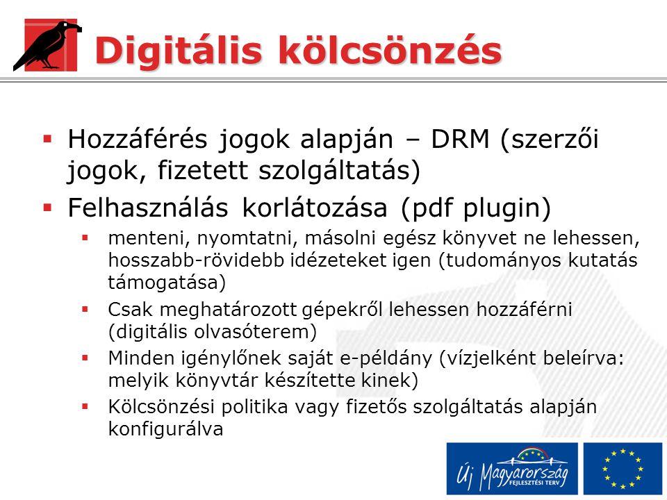 Digitális kölcsönzés Hozzáférés jogok alapján – DRM (szerzői jogok, fizetett szolgáltatás) Felhasználás korlátozása (pdf plugin)