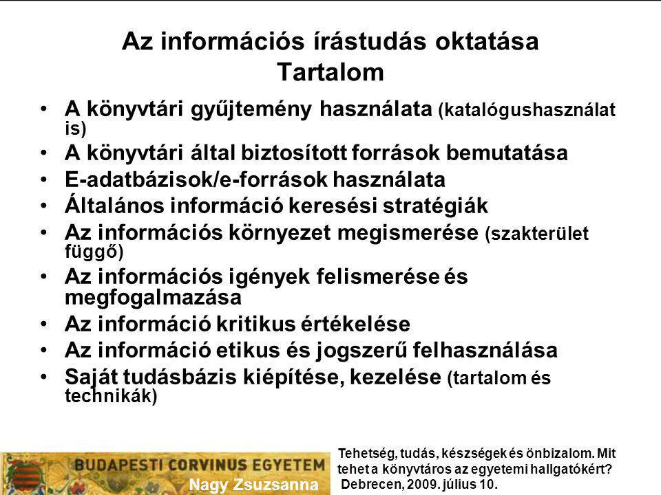 Az információs írástudás oktatása Tartalom