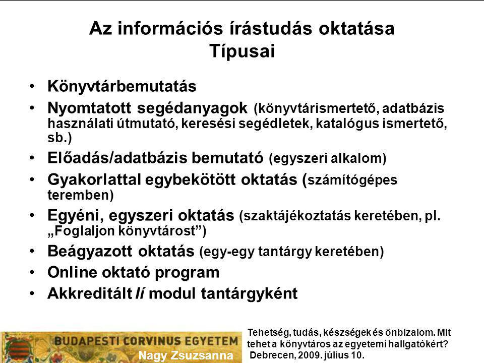 Az információs írástudás oktatása Típusai