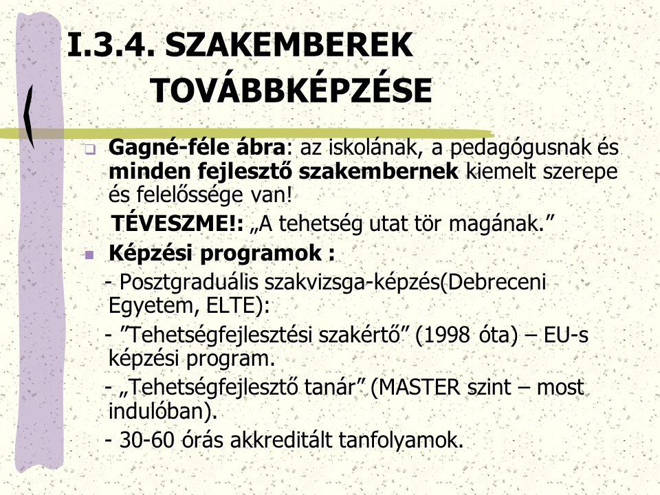 I.3.4. SZAKEMBEREK TOVÁBBKÉPZÉSE