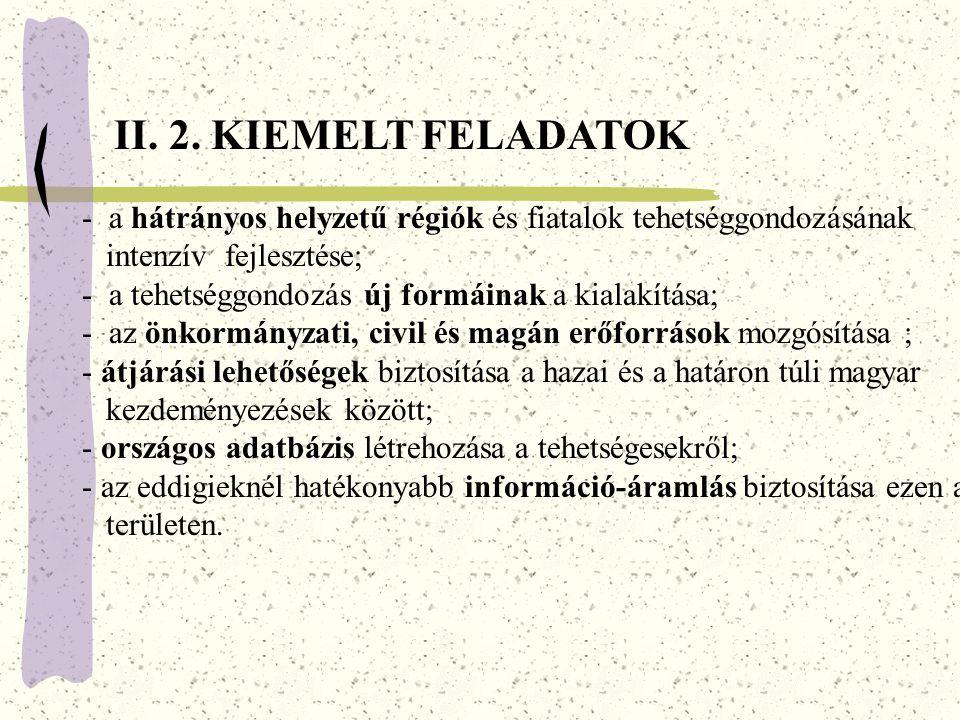 II. 2. KIEMELT FELADATOK - a hátrányos helyzetű régiók és fiatalok tehetséggondozásának. intenzív fejlesztése;