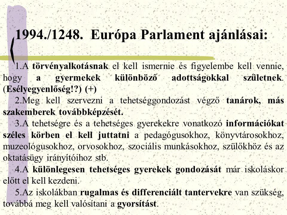 1994./1248. Európa Parlament ajánlásai: