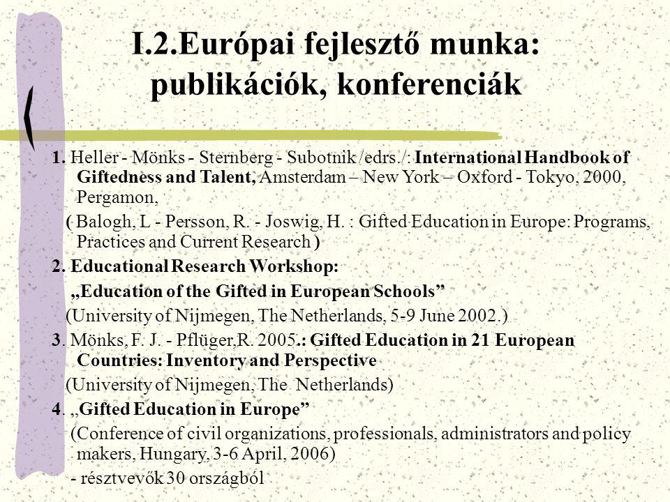 I.2.Európai fejlesztő munka: publikációk, konferenciák