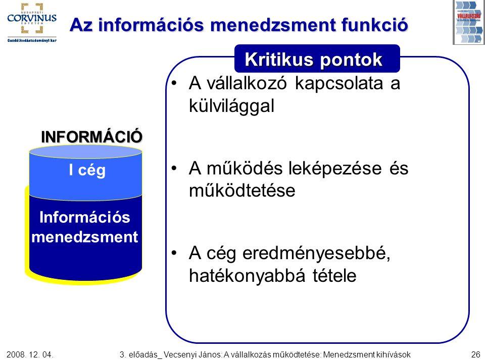 Az információs menedzsment funkció