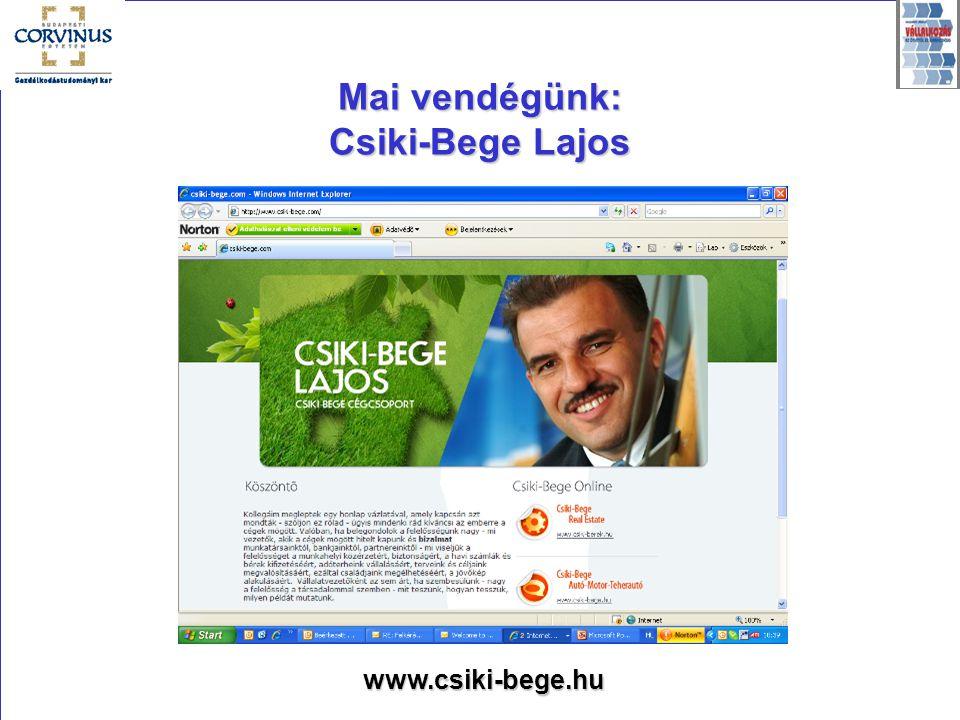 Mai vendégünk: Csiki-Bege Lajos